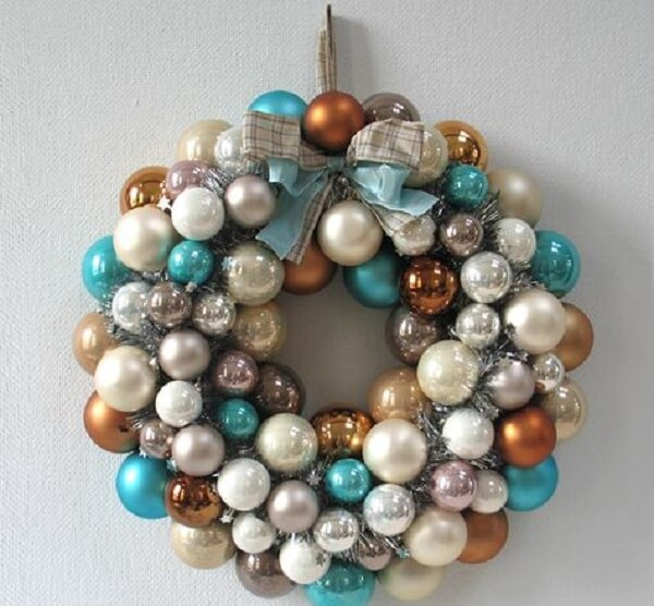 Christmas wreath with colored balls