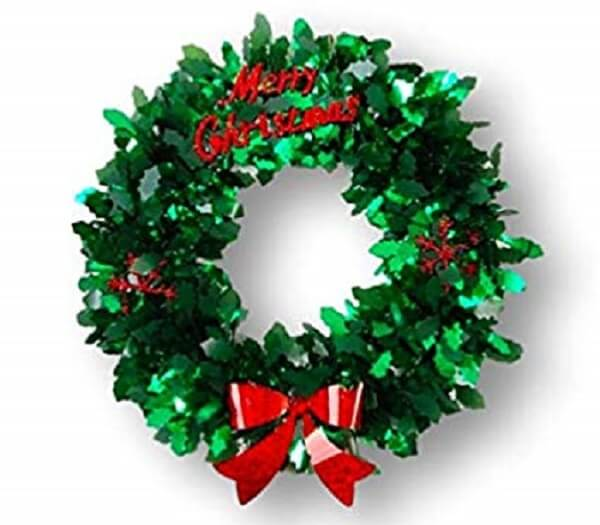 Christmas garland made with artificial flowers