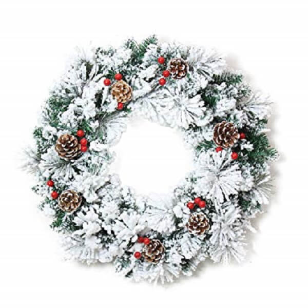 Christmas wreath with pinecone and artificial flowers