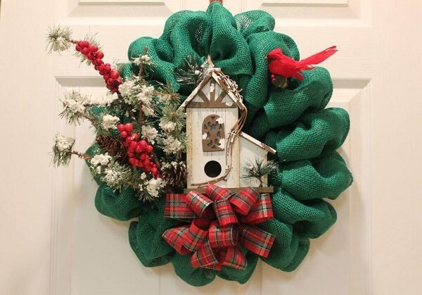 Christmas wreath made with jute fabric in green tone