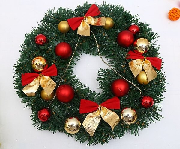 Christmas wreath made with artificial flowers and balls