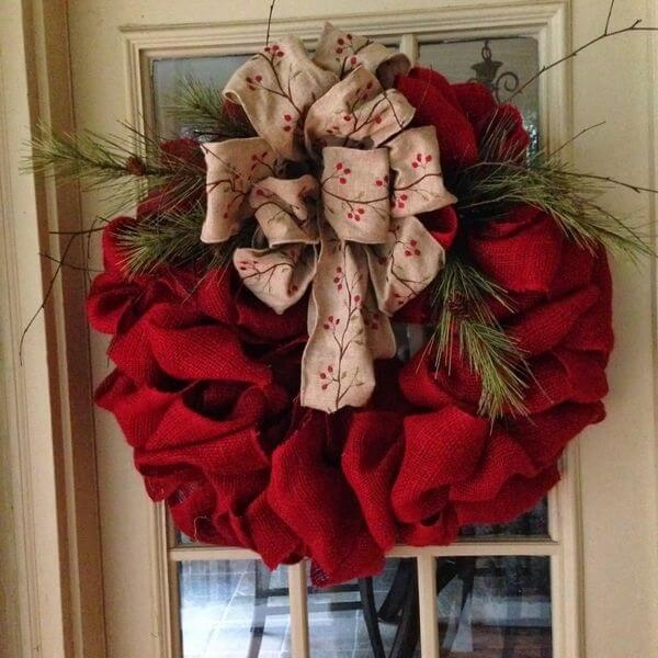 Christmas wreath made with red jute fabric