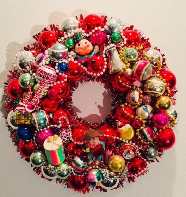 Colorful Christmas garland brightens up the front door