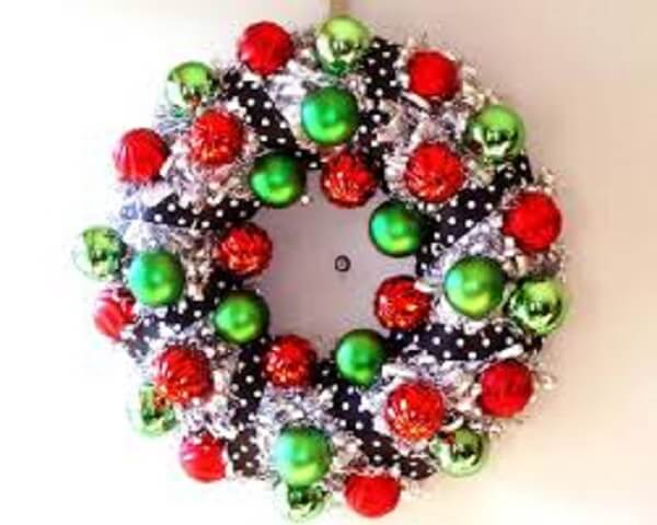 Christmas wreath made with colored balls