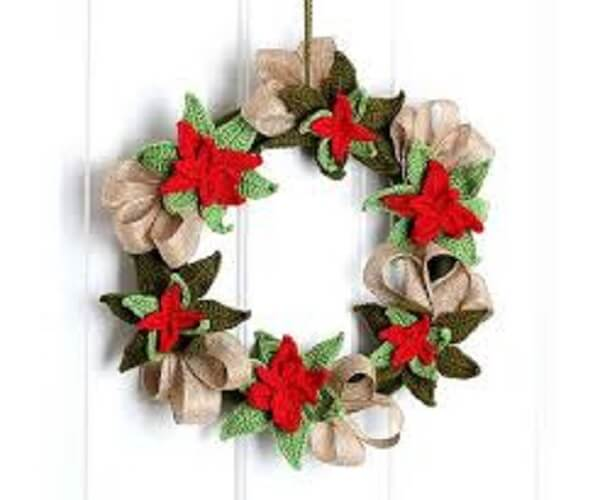 Christmas wreath made with crochet flowers