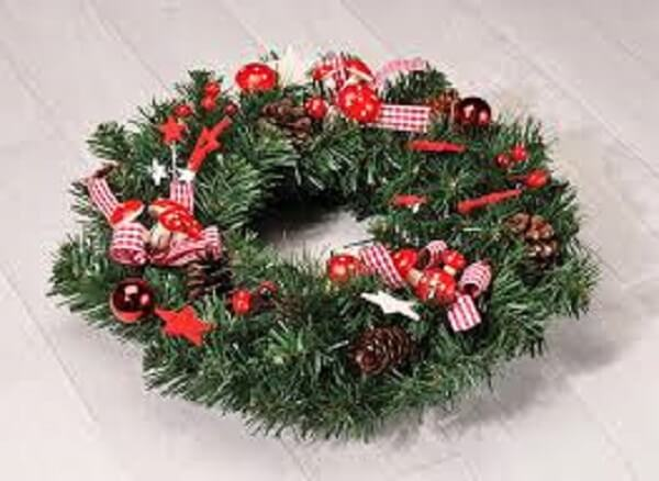 Christmas wreath made with artificial flowers