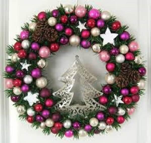 Christmas wreath made polka dots and silver tree