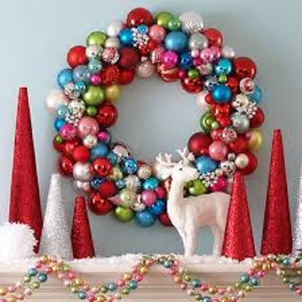 Christmas wreath made of colored balls