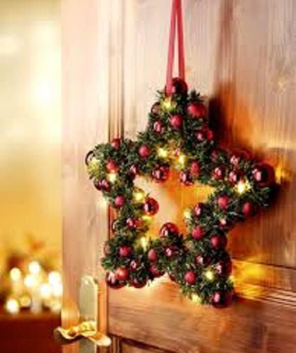 Christmas wreath made in the shape of star