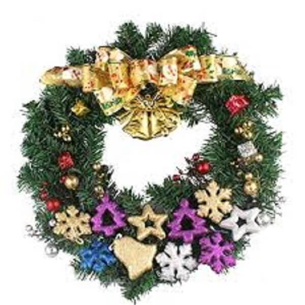 Wreath for Christmas made artificial flowers and Christmas elements