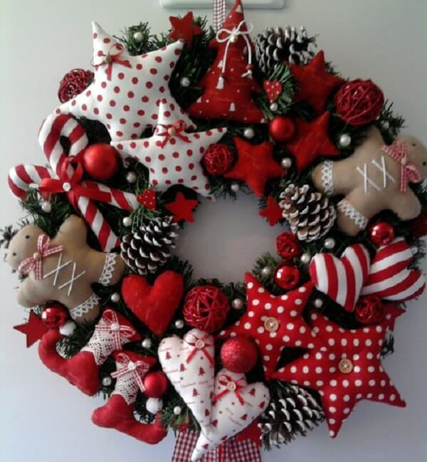 Christmas wreath made with fabric elements