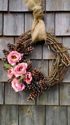 Christmas wreath with twigs and flowers