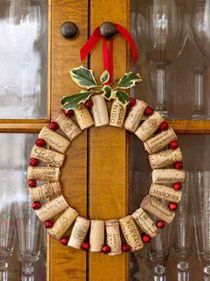Christmas wreath with simple corks diy