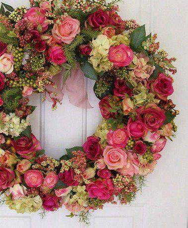 Pink and red flowers Christmas wreath