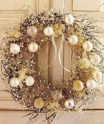 Christmas garland with golden branches