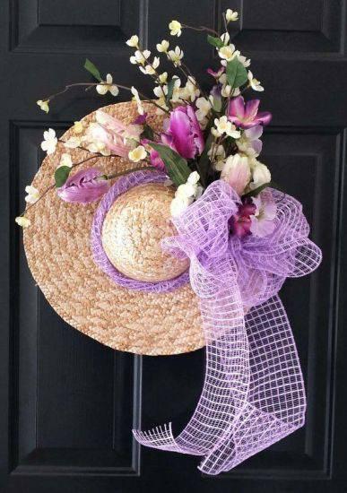 Christmas wreath beach hat with purple detail diy