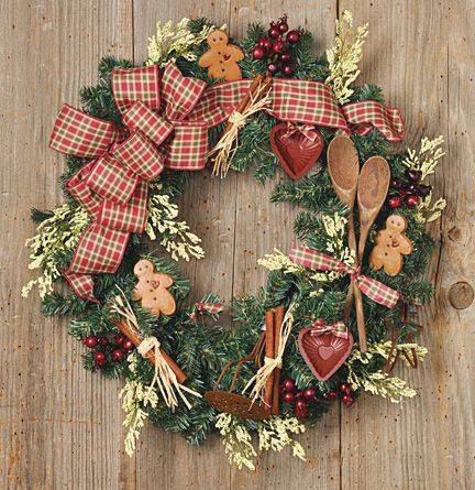 Christmas wreath with diy kitchen items