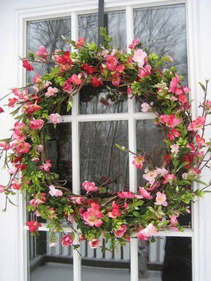 Christmas wreath with flower branches