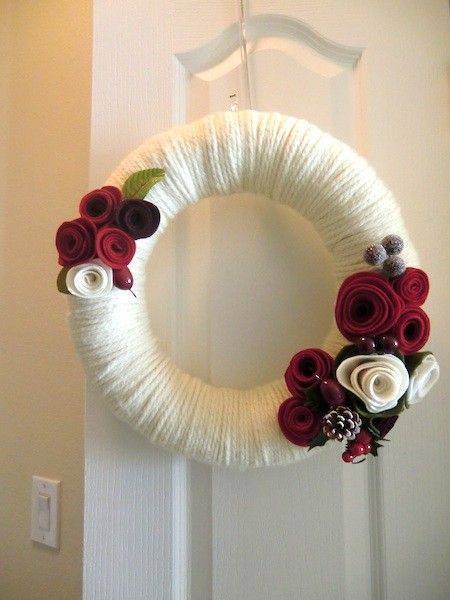 White line Christmas garland and red flowers
