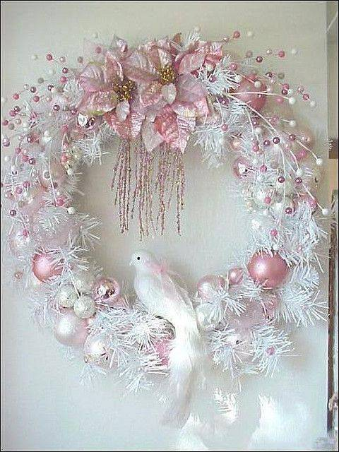 White Christmas wreath with pink