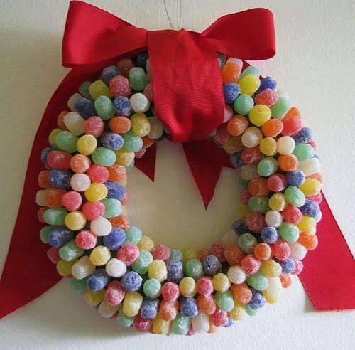 Christmas candy wreath diy