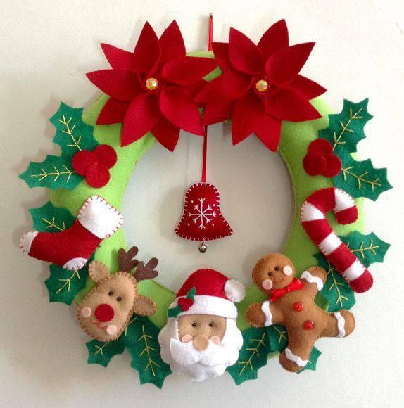 Woven felt handmade Christmas wreath