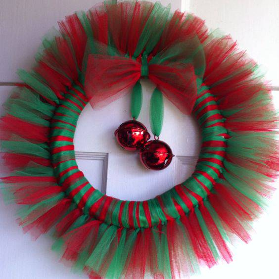 Christmas wreath with tulle