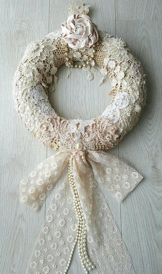 Diy lace Christmas ornament