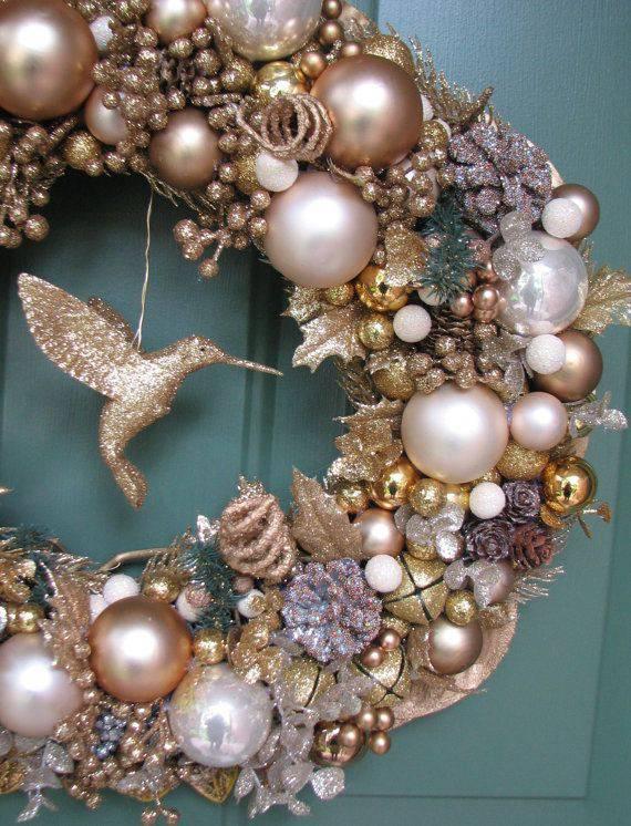 copper golden christmas wreath with hummingbird