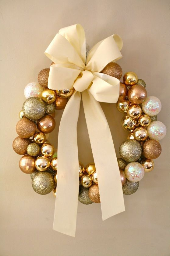 christmas wreath with balls and ribbon