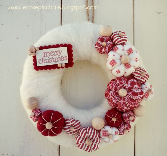 Christmas wreath with fabric flowers