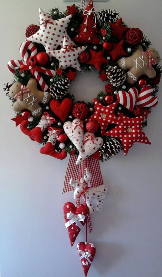 Christmas wreath with fabric and stars