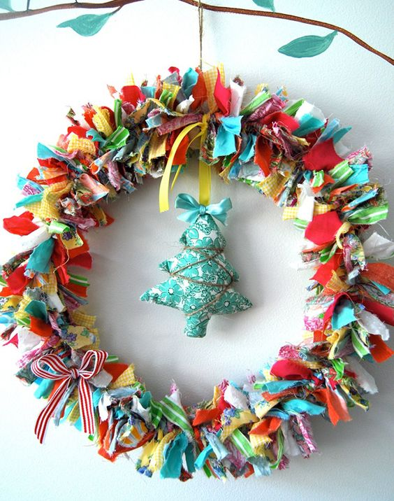 christmas wreath with colored fabric strips