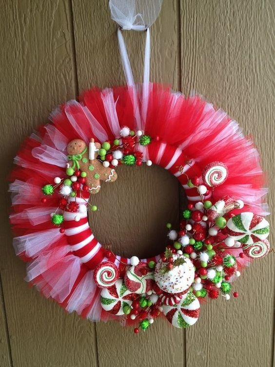 candy tulle christmas wreath