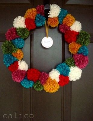 christmas wreath colored pompoms