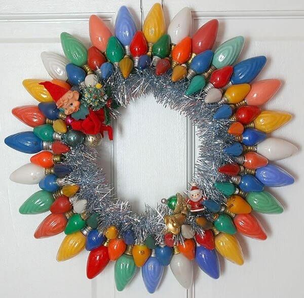 Christmas ornament made with light bulbs