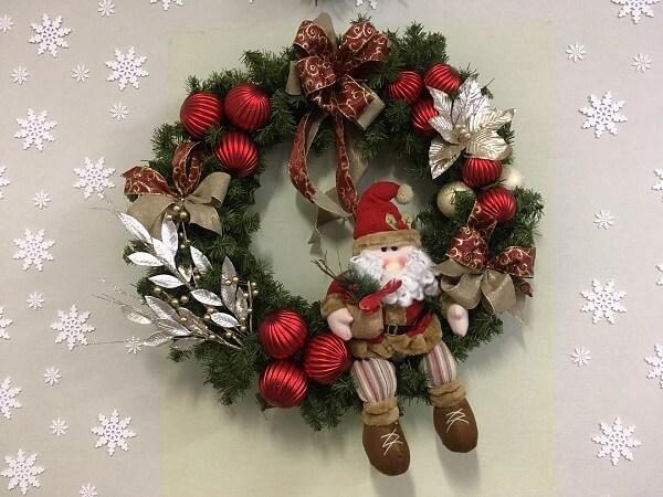 Christmas wreath with Santa Claus