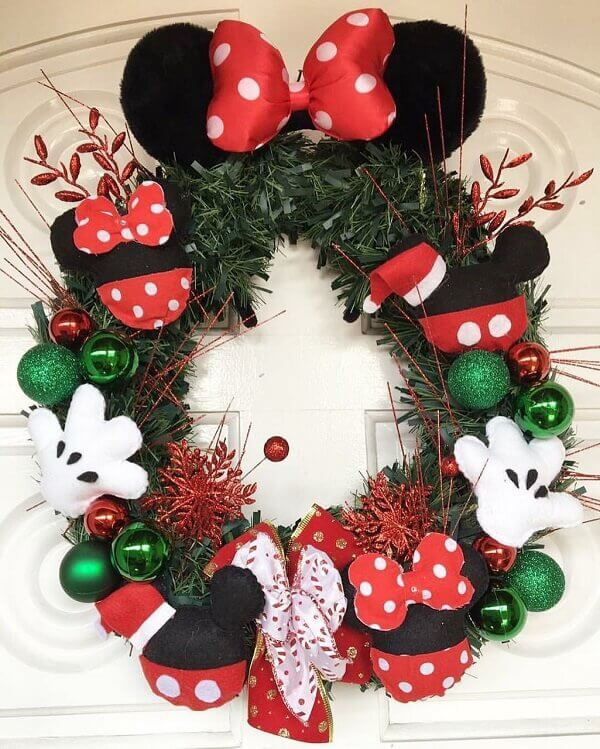 Christmas wreath made with Disney elements