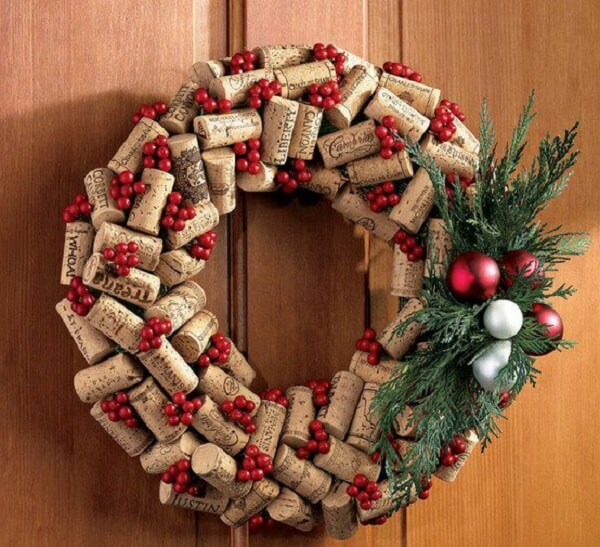 Christmas wreath made with bottle corks