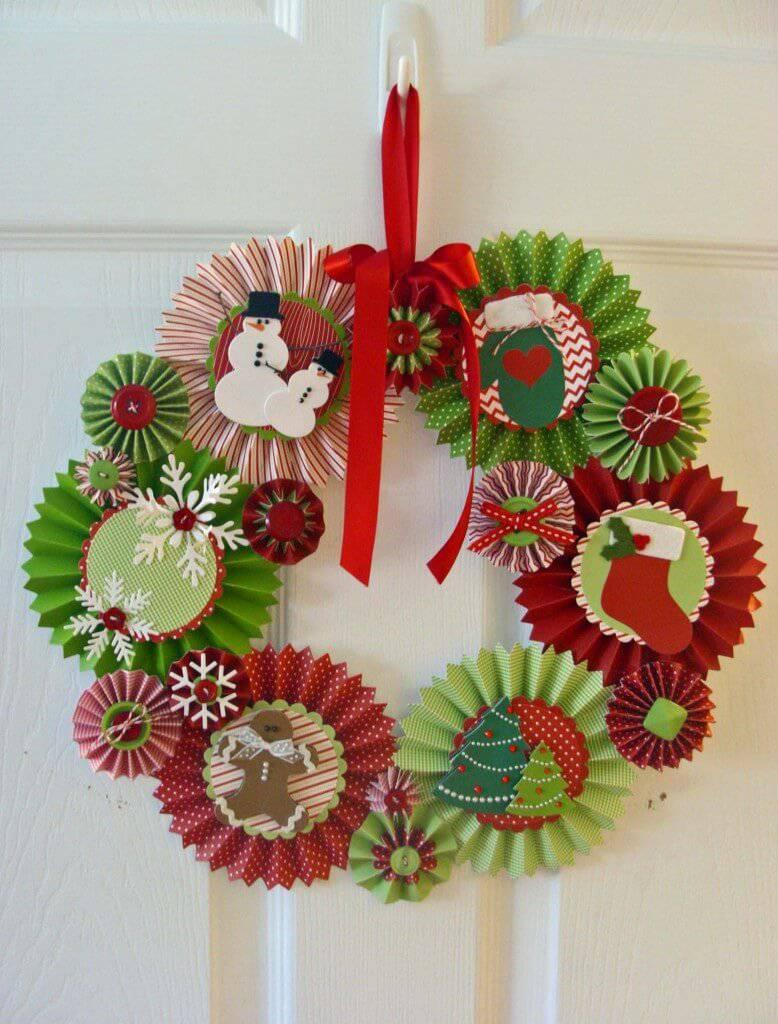 Rosette-Wreath Christmas Garland Handicraft
