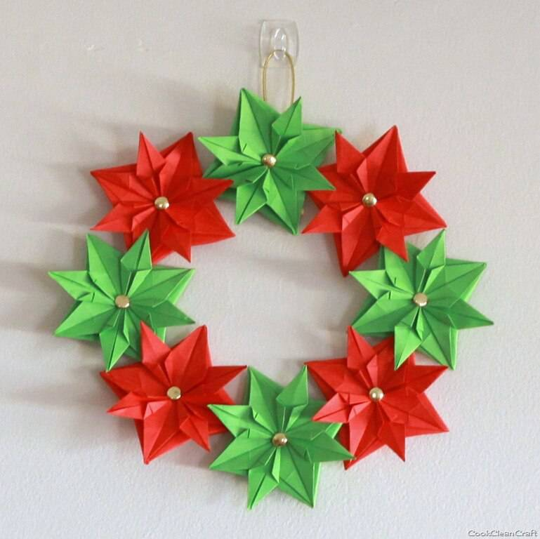 Handmade Christmas garland Paper Origami