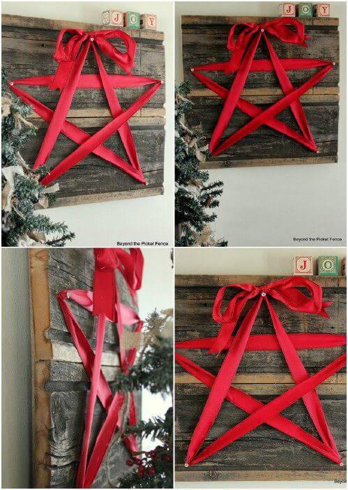 Handicraft Christmas star on pallets
