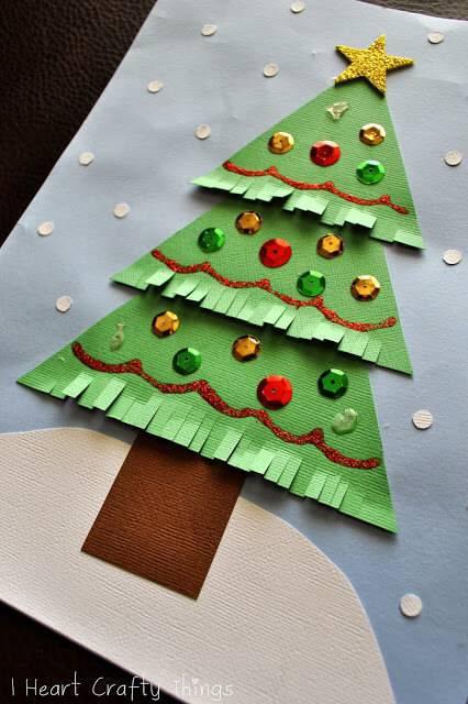 Handmade paper Christmas tree craft
