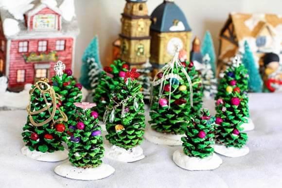 Handmade pine cone Christmas tree handicraft