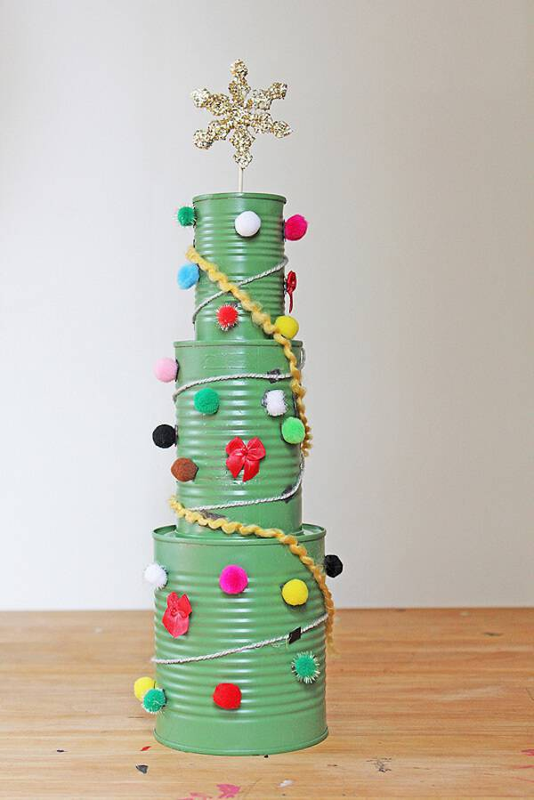 Christmas tree handmade craft with cans