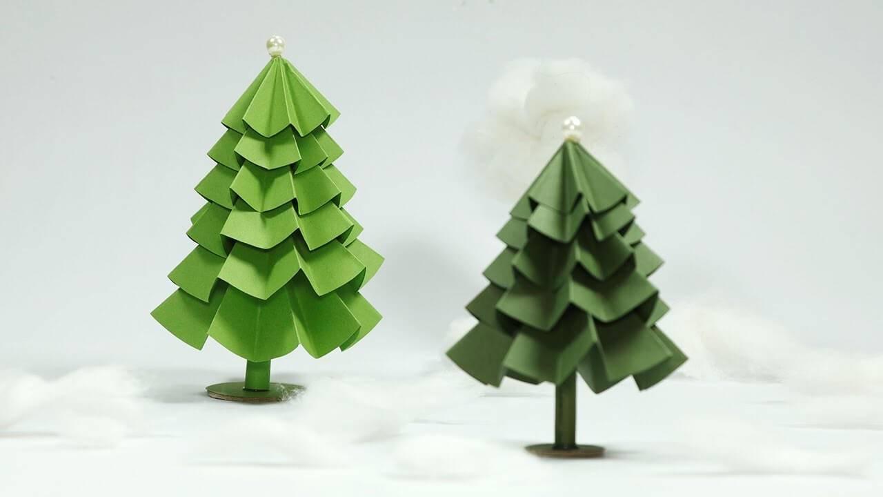 Handmade Christmas tree handmade craft of green paper