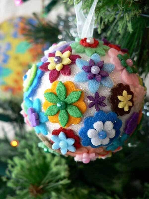 Handmade christmas balls wrapped with felt