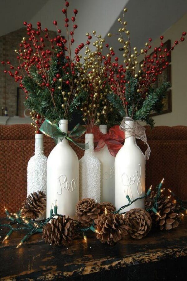 Decorated bottles christmas craft