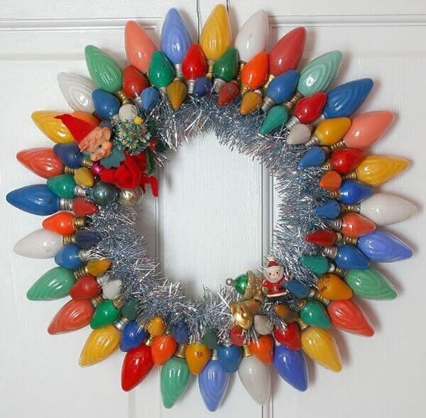 Handmade christmas garland with colored lamps