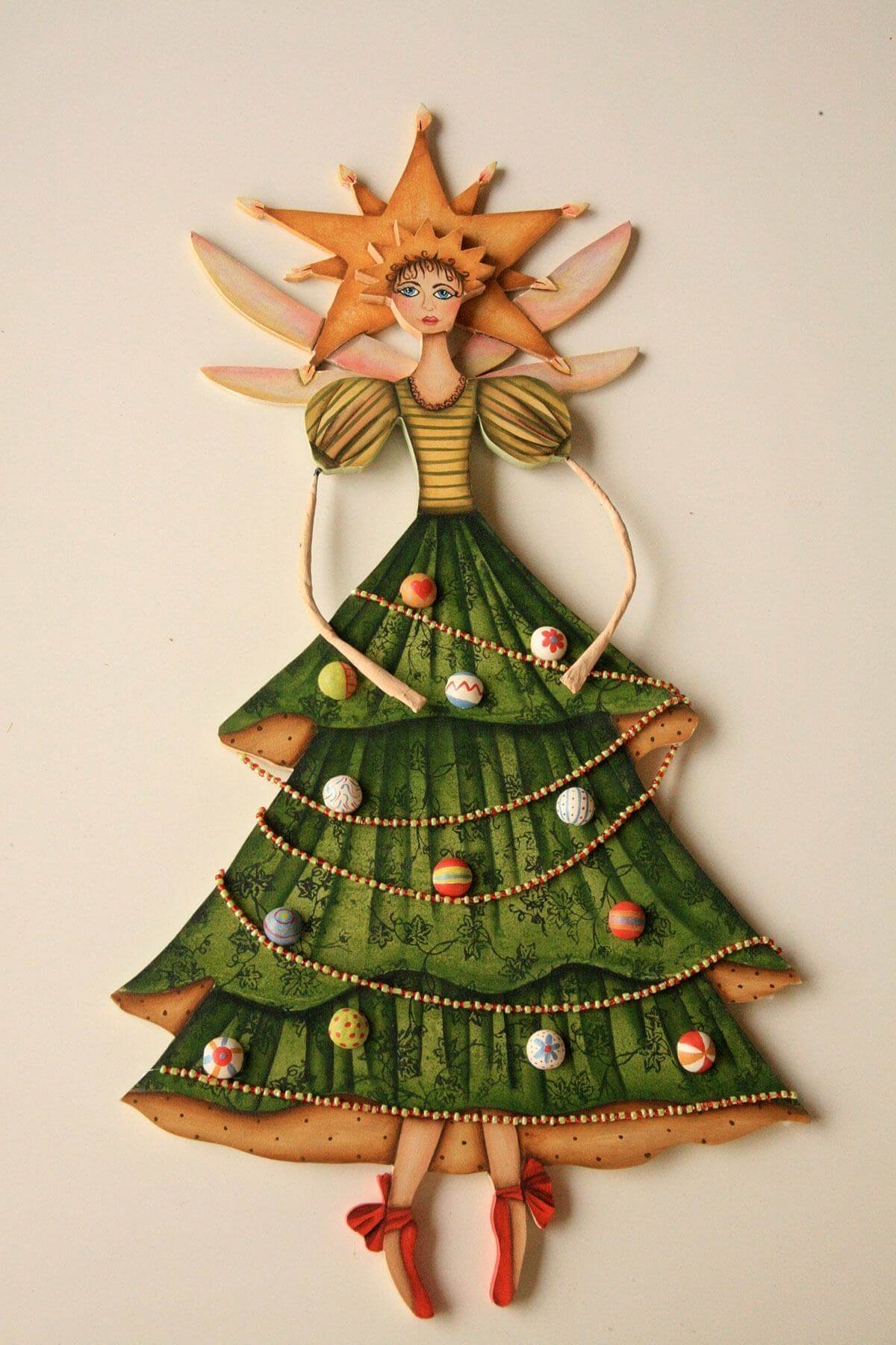 Christmas craft made of wood with fairy shape